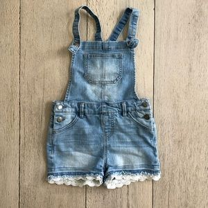 Denim Overall Shorts with Eyelet Hem